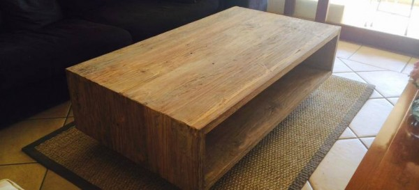 Chunky Weathered Pine coffee Table on Castors
