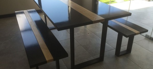 Dark wood table and bench chair set