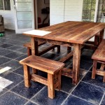 Reclaimed Oregan Pine Table and Matching Benches