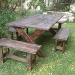 Outdoor wooden table and benches