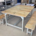Wooden slate table with benches