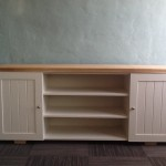 Weathered pine tv unit. White duco doors