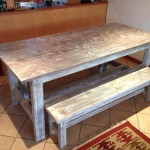 White washed table with benches