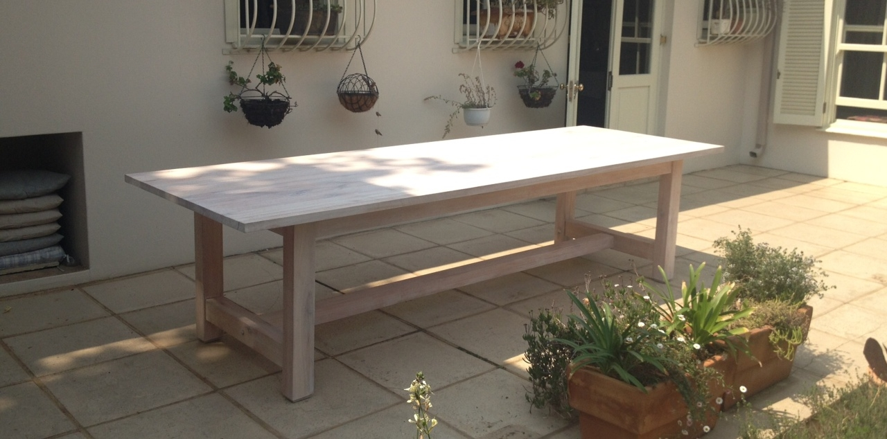 Whitewashed Saligna Dining/Patio Table - Outdoor & Patios - Ryan Christie Custom Furniture