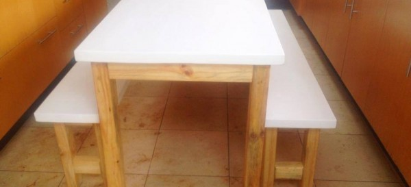 Pine wite finish barn style kitchen table & banches