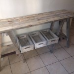 Weathered pine small trestle table and shelve